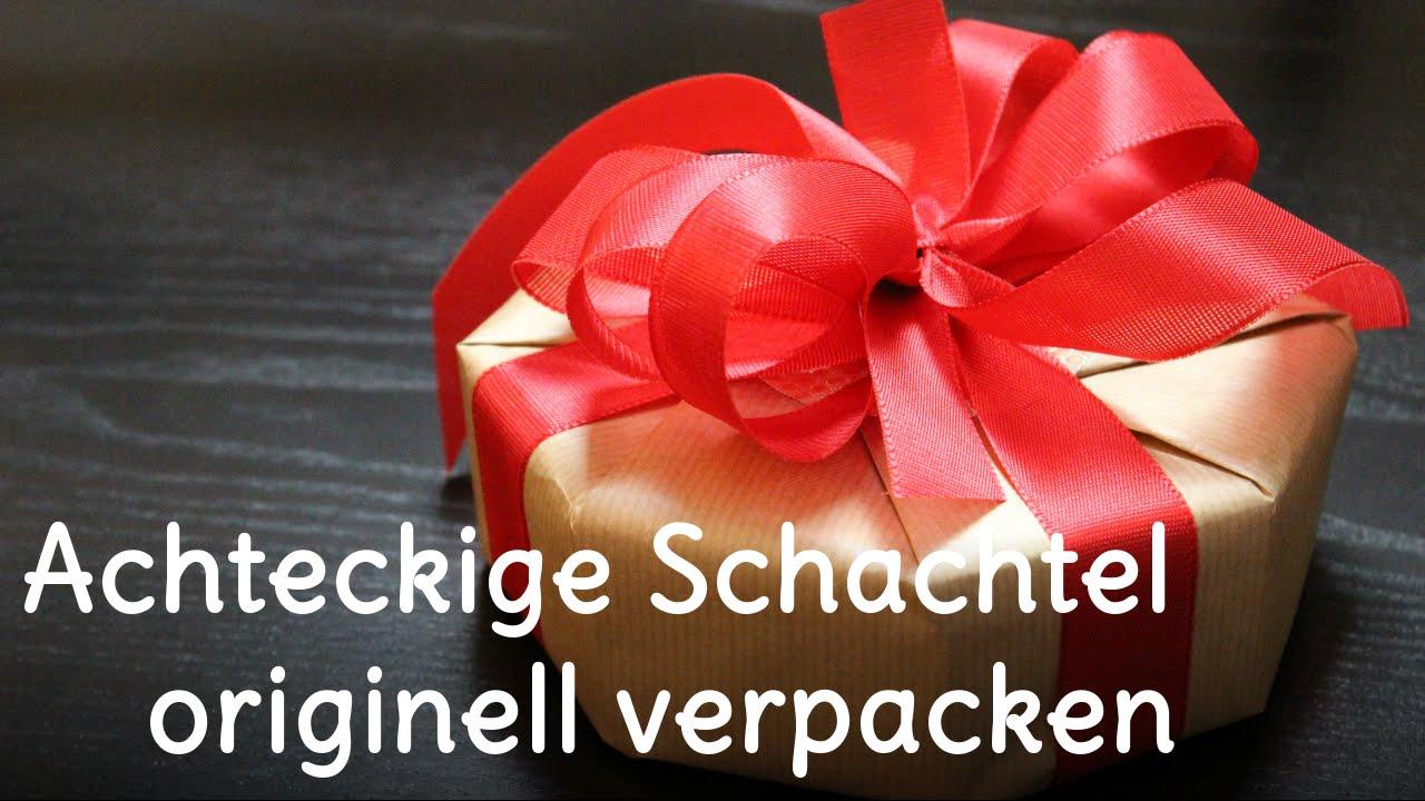 Geschenke verpacken - Schachtel im Achteck originell verpackt